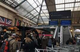 Passengers waiting for the Eurostar train.