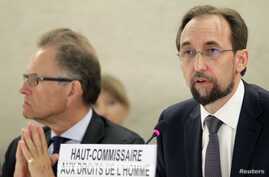 Newly appointed U.N. High Commissioner for Human Rights, Jordan's Prince Zeid Ra'ad Zeid al-Hussein, right, speaks at the Human Rights Council, next to Michael Moeller, the Acting Director-General of the United Nations Office, Geneva, Sept. 8, 2014.