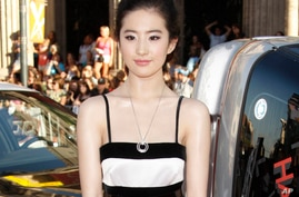 "FILE - Actress Yifei Liu arrives at the ""Hancock"" premiere in Los Angeles, June 30, 2008."