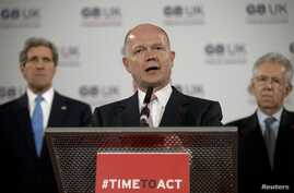 Britain's Foreign Secretary William Hague speaks at a news conference during the G8 Foreign Ministers meeting in London, April 11, 2013.