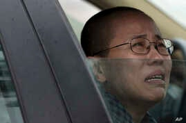 Liu Xia, wife of imprisoned Nobel Peace Prize winner Liu Xiaobo, cries in a car outside Huairou Detention Center where her brother Liu Hui has been jailed in Huairou district, on the outskirts of Beijing, China, Sunday, June 9, 2013. A court sentence