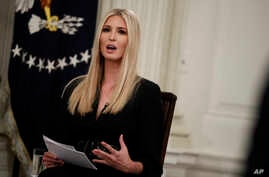 """Ivanka Trump speaks during the """"Our Pledge to America's Workers"""" event with her father President Donald Trump in the State Dining Room of the White House, Oct. 31, 2018, in Washington."""