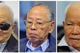 Former Khmer Rouge leadership from left: Nuon Chea, Ieng Sary, and Khieu Samphan, at trial, Phnom Penh, Nov. 21, 2011.