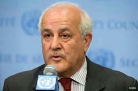 Palestinian U.N. Ambassador Riyad Mansour speaks following a meeting of the U.N. Security Council on the worsening situation in Gaza at United Nations headquarters, July 28, 2014.