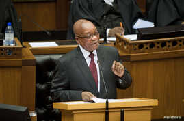 FILE - South Africa's President Jacob Zuma delivers his State of the Nation address at Parliament in Cape Town, Feb. 13, 2014.