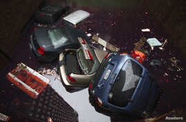 Vehicles submerged in a parking structure in the financial district of lower Manhattan, New York, Oct. 30, 2012.