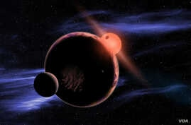 This artist's conception shows a habitable planet with two