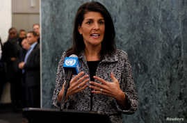 Newly appointed U.S. Ambassador to the United Nations Nikki Haley makes a statement upon her arrival at U.N. headquarters in New York City, Jan. 27, 2017.