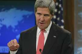 Secretary of State John Kerry talks about Syria and chemical weapons ahead of next week's United Nations General Assembly at the State Department in Washington, Thursday, Sept. 19, 2013. Kerry says the U.N. General Assembly needs to move swiftly to a