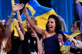 Ukraine's Jamala celebrates as she wins the Eurovision Song Contest final with her song '1944,' in Stockholm, Sweden, May 15, 2016.