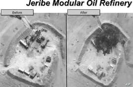 FILE- A two-picture combo photo, provided by the Pentagon, shows before and after airstrike photos of an oil refinery in Syria.
