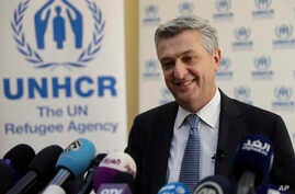 """Filippo Grandi, the head of U.N. refugee agency UNHCR, told reporters in Beirut, Lebanon, Feb. 3, 2017, that creating safe zones in Syria for refugees won't work because the country was """"not the right place"""" to guarantee refugee safety."""