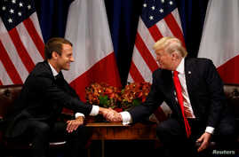 U.S. President Donald Trump meets French President Emmanuel Macron in New York, Sept. 18, 2017.