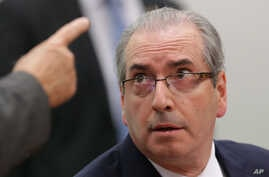 Brazil's suspended Lower House Speaker Eduardo Cunha listens to a questioner during an ethics committee hearing in parliament in Brasilia, Brazil, May 19, 2016.