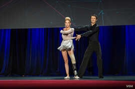 Adrianne Haslet took the stage for the first time since the bombing, for a rumba routine with dance partner Christian Lightner at TED2014 in Vancouver.