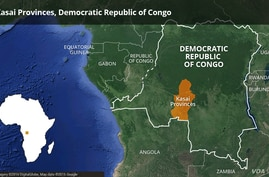 Map of Kasai Provinces in Democratic Republic of Congo (DRC)