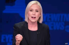 FILE - Sen. Kirsten Gillibrand, a New York Democrat, speaks during the New York Senate debate hosted by WABC-TV, in New York, Oct. 25, 2018.