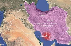 Epicenter of earthquake near Saifabad, Iran