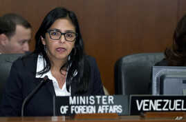 FILE - Venezuelan Foreign Minister Delcy Rodriguez is seen in a March 19, 2015, photo.