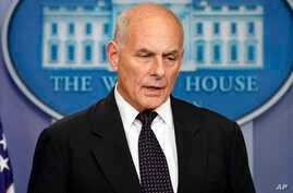 White House Chief of Staff John Kelly speaks to the media during the daily briefing in the Brady Press Briefing Room of the White House, Oct. 19, 2017.
