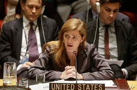 FILE - Samantha Power, the United States' ambassador to the United Nations speaks during a meeting of the U.N. Security Council Tuesday, Dec. 30, 2014, at United Nations headquarters.