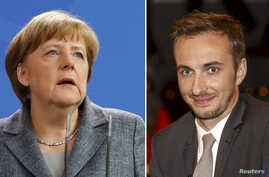 A combination of pictures shows German Chancellor Angela Merkel as she gives a statement on Turkey's request to seek prosecution of German comedian Jan Boehmermann (R) who read out a sexually crude poem about Turkish President Tayyip Erdogan on Germa