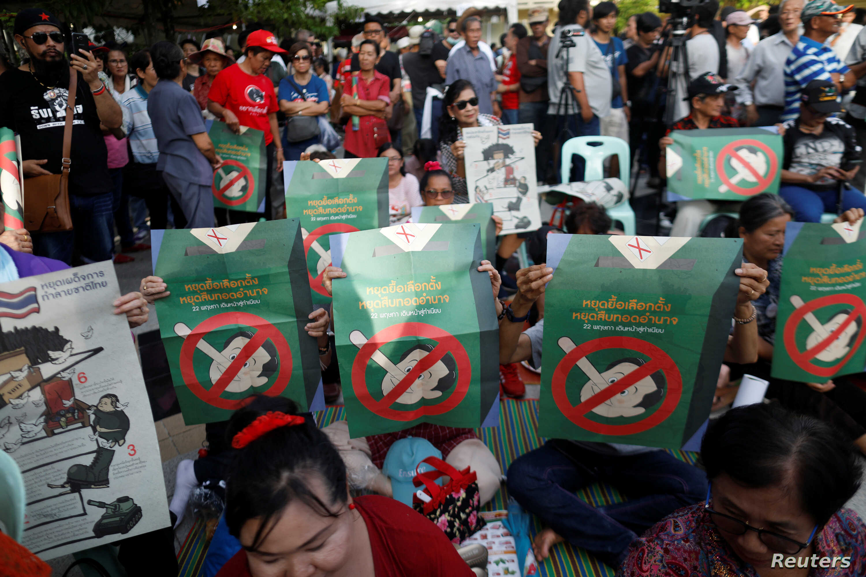 People protest against Thailand's Prime Minister Prayuth Chan-ocha in Bangkok, Thailand, May 5, 2018.