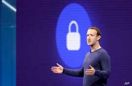 FILE- Facebook CEO Mark Zuckerberg is seen during a keynote speech in San Jose, California.