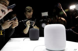 The HomePod speaker is photographed in a a showroom during an announcement of new products at the Apple Worldwide Developers Conference, June 5, 2017, in San Jose , California.