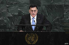 FILE - The head of Libya's U.N.-backed Government of National Accord, Fayez al-Serraj, addresses the 72nd Session of the United Nations General assembly at the UN headquarters in New York, Sept. 20, 2017.