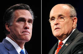 Former Republican presidential candidate Mitt Romney and former New York City Mayor Rudolph Giuliani are seen in this composite photo.