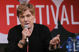 Robert Redford, founder and president of the Sundance Institute, addresses reporters during the opening news conference of the 2014 Sundance Film Festival on Thursday, Jan. 16, 2014 in Park City, Utah. (Photo by Chris Pizzello/Invision/AP)