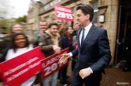 Britain's opposition Labour Party leader Ed Miliband leaves after a campaign event  in Colne, northern England, May 6, 2015.