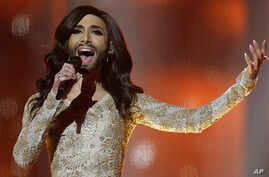 Singer Conchita Wurst representing Austria performs the song ' Rise Like a Phoenix' during a rehearsal for the second semifinal of the Eurovision Song Contest in the B&W Halls in Copenhagen, Denmark, May 7, 2014.
