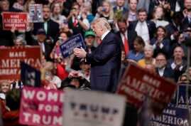 FILE - President Donald Trump speaks at a rally in Nashville, Tenn. Trump is taking his message directly to his ardent supporters.