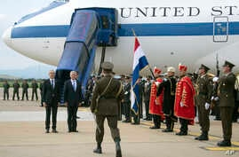 US Secretary of Defense James Mattis, right, participates in a Welcoming Ceremony with Croatian Minister of Defense Damir Krsticevic, upon landing in Zagreb, Croatia, Thursday, July 12, 2018.