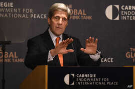 Secretary of State John Kerry discusses U.S. policy toward the Middle East, Oct. 28, 2015, in a speech at the Carnegie Endowment for International Peace in Washington.