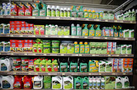 Weedkillers including Monsanto's Roundup are displayed for sale at a garden shop at Bonneuil-Sur-Marne near Paris, France, June 16, 2015. French Environment and Energy Minister Royal has asked garden shops to stop over-the-counter sales of Monsanto's