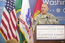 Stephen R. Lanza, Commanding Lt. Gen. for I Corps, addresses the Washington State Service Member for Life Transition Summit, Oct. 21, 2014. Lanza, who leads several international military exercises in the Pacific, said the U.S. military is prepared