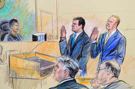 A court artist drawing shows President Donald Trump's former campaign chairman, Paul Manafort, center standing and Manafort's business associate, Rick Gates, in federal court in Washington, Oct. 30, 2017, before U.S. Magistrate Judge Deborah A. Robin...