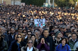 Thousands of bank employees march to the parliament during a protest in Nicosia Mar. 23, 2013.