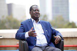 Kenyan opposition leader Raila Odinga of the National Super Alliance coalition speaks with Reuters in Nairobi, Kenya, Nov. 7, 2017.