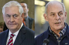 From left, State Department Secretary Rex Tillerson and Department of Homeland Security Secretary John Kelly and will travel to Mexico next week, U.S. and Mexican officials said, Feb. 15, 2017.