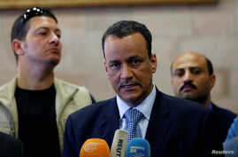 United Nations Special Envoy for Yemen, Ismail Ould Cheikh Ahmed, speaks to reporters upon his arrival at Sana'a airport on a visit to Yemen. May 22, 2017.