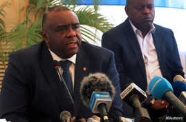 FILE - Congolese opposition leader Jean-Pierre Bemba of the Movement for the Liberation of the Congo (MLC) addresses a news conference in Kinshasa, Democratic Republic of Congo, Aug. 3, 2018.