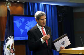 Secretary of State John Kerry talks about Syria and chemical weapons ahead of next week's United Nations General Assembly at the State Department in Washington, Sept. 19, 2013.
