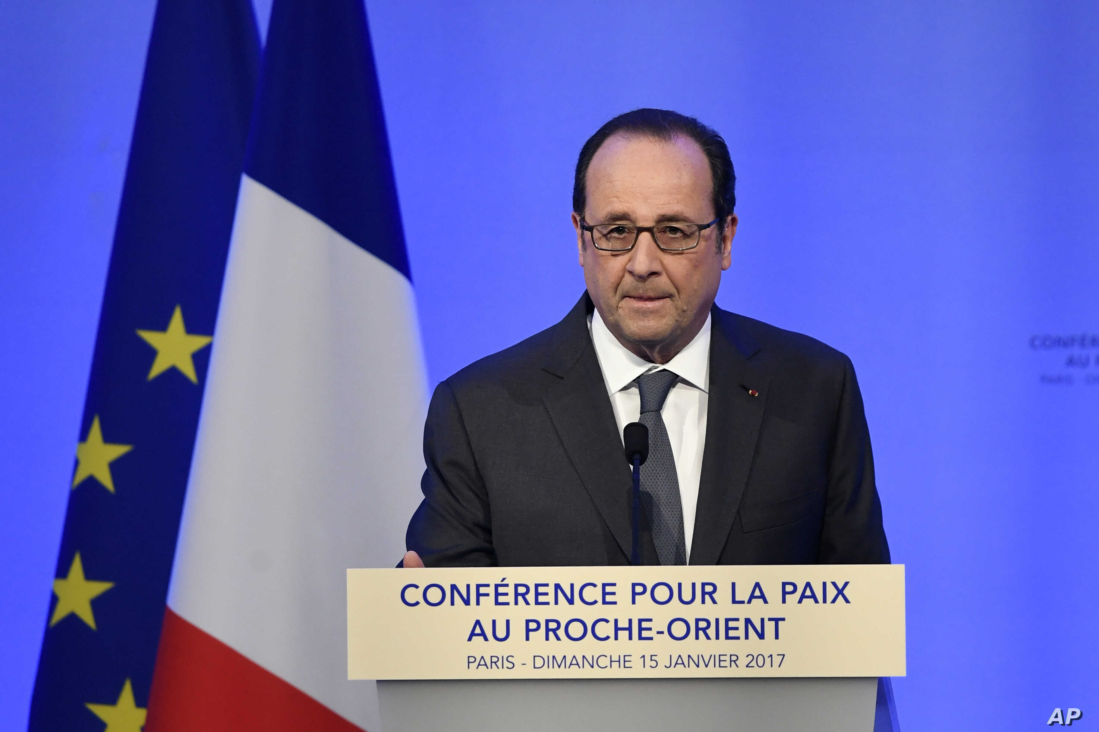 French President Francois Hollande delivers his speech at the opening of the Mideast peace conference in Paris, Sunday, Jan. 15, 2017.