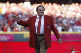 FILE - Pete Rose is honored prior to the 2015 MLB All-Star Game at Great American Ball Park in Cincinnati, Ohio, in July 2015.