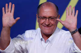 Sao Paulo's Governor Geraldo Alckmin gestures after he was elected leader of the Brazilian Social Democracy Party (PSDB) during their convention in Brasilia, Brazil, Dec. 9, 2017.