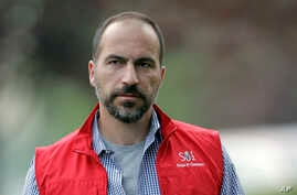 FILE- In this July 13, 2012, photo, Dara Khosrowshahi, the CEO of Expedia, Inc., attends an event in Sun Valley, Idaho.